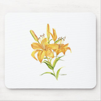 mouse pad tiger lily watercolor