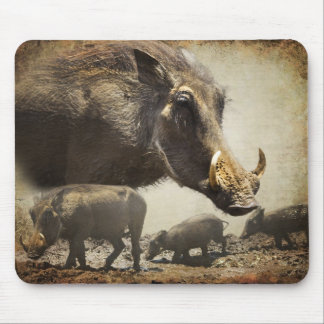 Mouse Pad Warthog with babies out of Africa