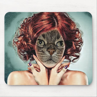 Mouse Pad with a digital Cat Fantasy Art Design