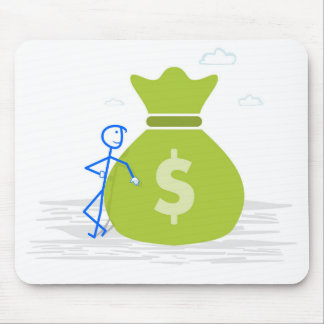 Mouse pad with creative image: man with money bag