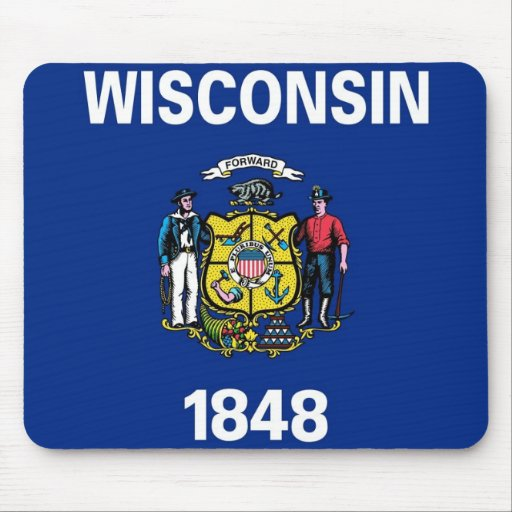Mouse pad with Flag of Wisconsin State - USA