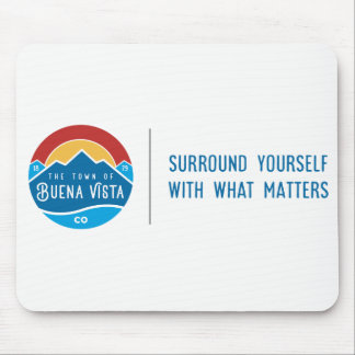 Mouse pad with logo and tagline