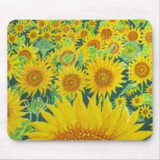Mouse pad with sunflowers