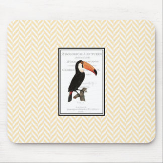Mouse pad with vintage toucan graphic