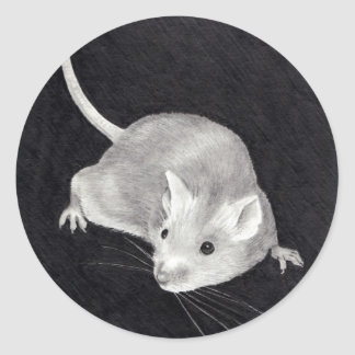 MOUSE: PENCIL REALISM ART ROUND STICKER