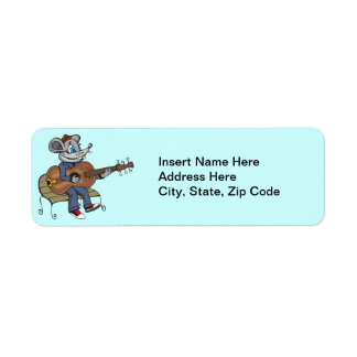Mouse Playing Guitar Return Address Label