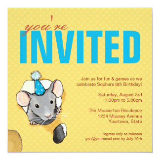 Mouse & Polka Dots Birthday Party Invitations