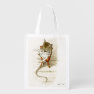 Mouse Reading Newspaper Reusable Grocery Bag