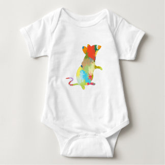 Mouse Shape colorful Splash Design Baby Bodysuit
