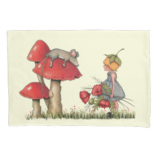 Mouse Sleeping on a Toadstool, Girl with Poppies Pillowcase