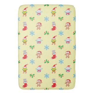 Mouse, snowman, teddy and elf Christmas pattern Bath Mat