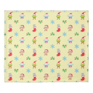Mouse, snowman, teddy and elf Christmas pattern Duvet Cover