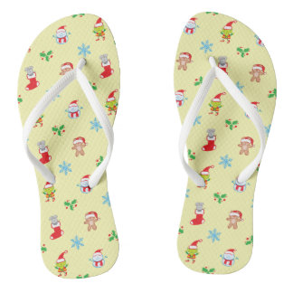 Mouse, snowman, teddy and elf Christmas pattern Flip Flops