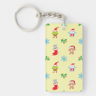 Mouse, snowman, teddy and elf Christmas pattern Keychain