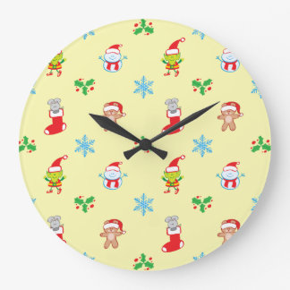 Mouse, snowman, teddy and elf Christmas pattern Large Clock