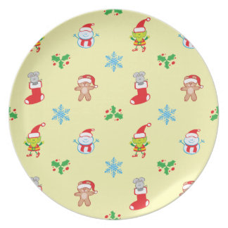 Mouse, snowman, teddy and elf Christmas pattern Plate