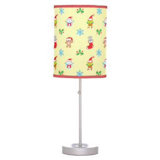 Mouse, snowman, teddy and elf Christmas pattern Table Lamp