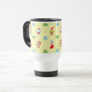 Mouse, snowman, teddy and elf Christmas pattern Travel Mug