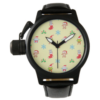 Mouse, snowman, teddy and elf Christmas pattern Watch