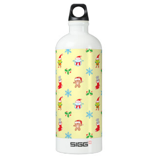 Mouse, snowman, teddy and elf Christmas pattern Water Bottle