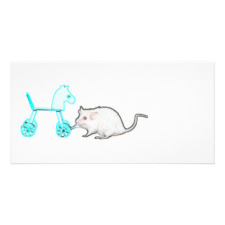 mouse touching blue horse outline animal photo greeting card