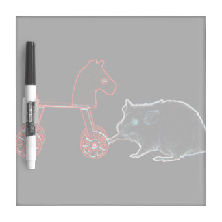 mouse touching wheeled horse outline dry erase boards