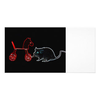 mouse touching wheeled horse outline picture card