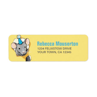Mouse Wearing a Party Hat Return Address Label