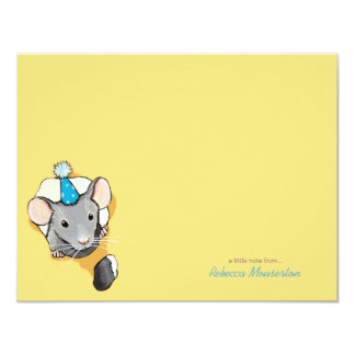 Mouse Wearing Party Hat Flat Thank You Note Card
