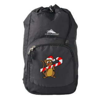 Mouse with a Christmas candy cane Backpack