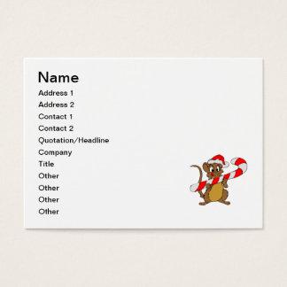 Mouse with a Christmas candy cane Business Card