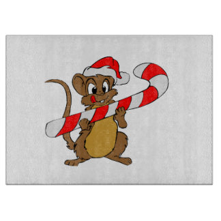 Mouse with a Christmas candy cane Cutting Board