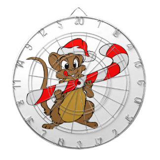 Mouse with a Christmas candy cane Dartboard