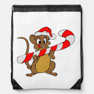Mouse with a Christmas candy cane Drawstring Bag
