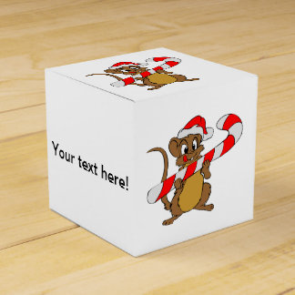 Mouse with a Christmas candy cane Favor Box