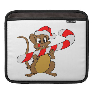 Mouse with a Christmas candy cane iPad Sleeve