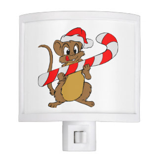 Mouse with a Christmas candy cane Nite Lite