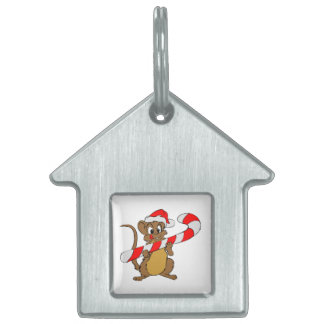 Mouse with a Christmas candy cane Pet Name Tag