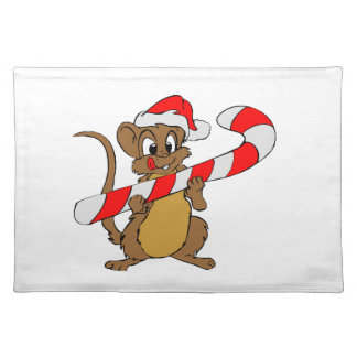 Mouse with a Christmas candy cane Placemat
