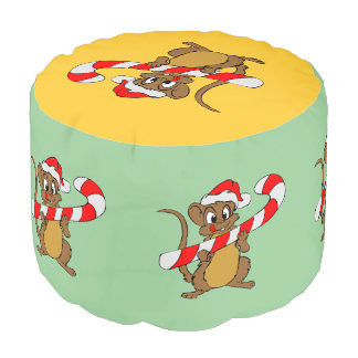 Mouse with a Christmas candy cane Pouf