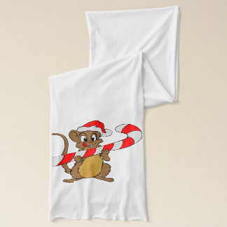 Mouse with a Christmas candy cane Scarf