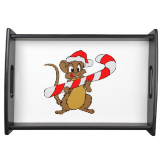 Mouse with a Christmas candy cane Serving Tray