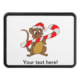 Mouse with a Christmas candy cane Trailer Hitch Cover