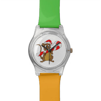 Mouse with a Christmas candy cane Watch