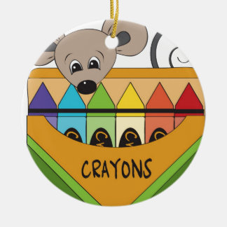 mouse with crayons ceramic ornament