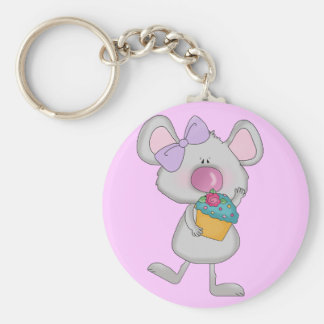 Mouse with Cupcake Tshirts and Gifts Basic Round Button Keychain