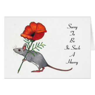 Mouse with Flower, In A Hurry: Belated Birthday Card