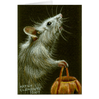 Mouse with Pumpkin Basket HalloweenCard Note Card
