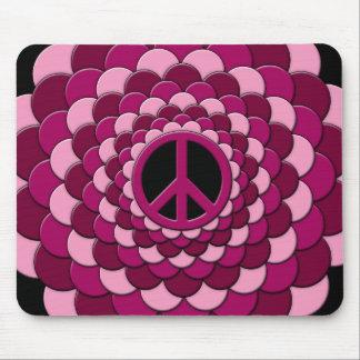 Mousemat, Peace Flower, Cyan Blue, Pink Mouse Pad
