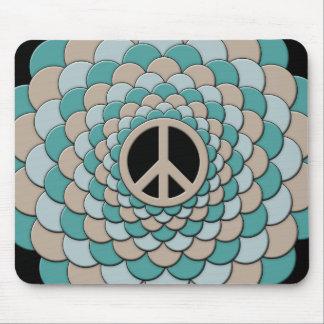 Mousemat, Peace Flower, Cyan Blue, Tan, Black Mouse Pad